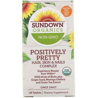 Sundown Organics, Positively Pretty, Hair, Skin & Nails Complex, 30 Tablets
