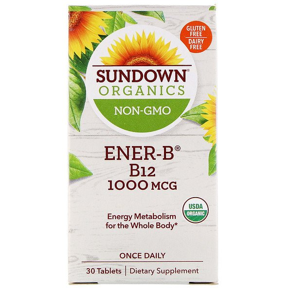 Sundown Organics, Ener-B, B12, 1,000 mcg, 30 Tablets