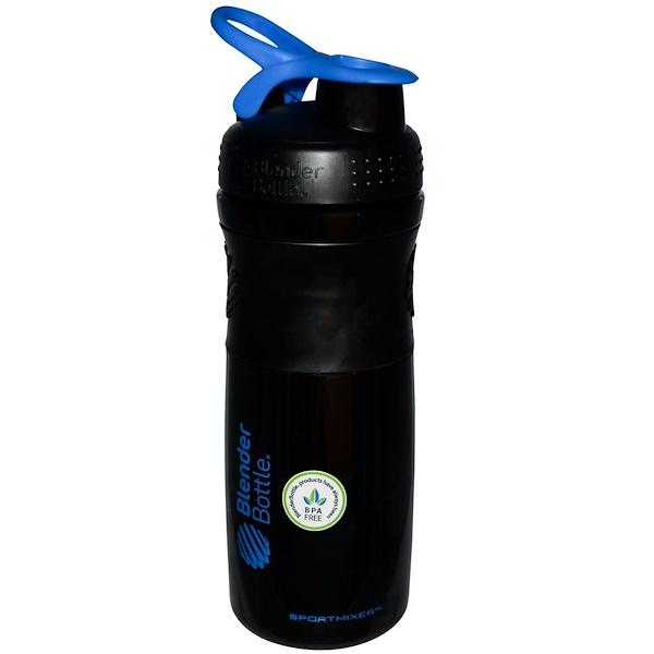 Blender Bottle, SportMixer Blender Bottle, Black/Blue, 28 oz (Discontinued Item)