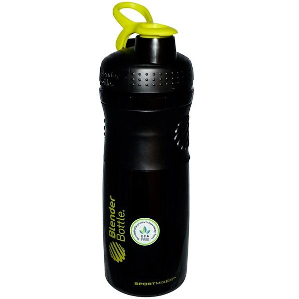 Blender Bottle, SportMixer Blender Bottle, Black/Green, 28 oz (Discontinued Item)