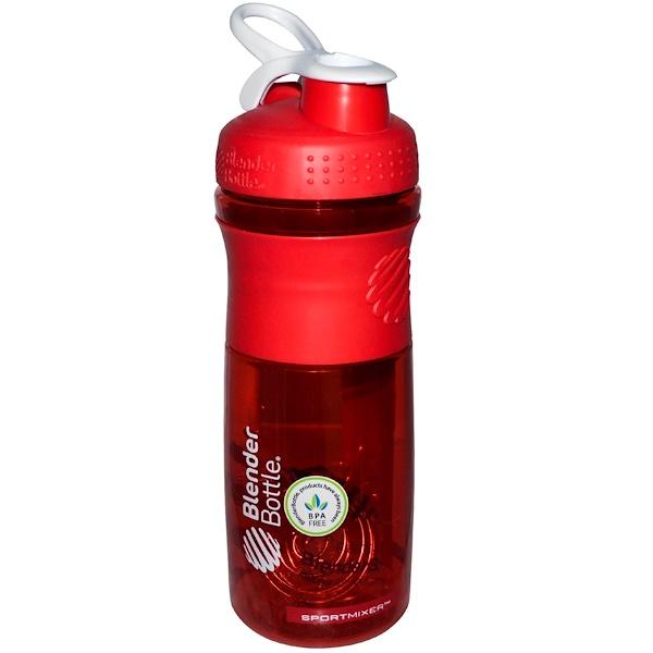 Blender Bottle, スポートミキサーブレンダーボトル、 レッド/ホワイト、 28オンス (Discontinued Item)