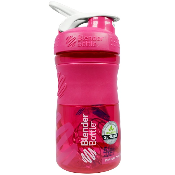 Blender Bottle, Sportmixer Blender Bottle, Grip Tritan, Pink/White, 20 oz (Discontinued Item)