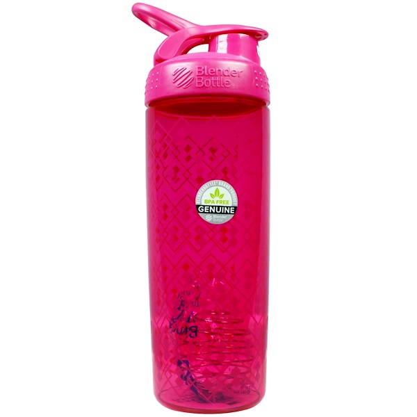 Blender Bottle, Blender Bottle Sport Mixer, Sleek Geo Lace Pattern, Pink/Pink, 28 oz (Discontinued Item)