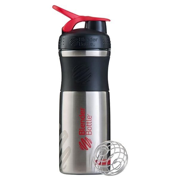 Blender Bottle, BlenderBottle, SportMixer, Stainless Steel, Black/Red, 28 oz (Discontinued Item)