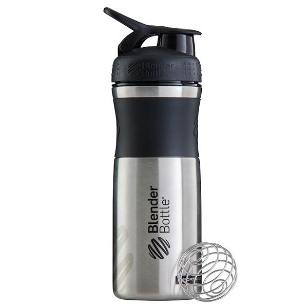 Blender Bottle, BlenderBottle, SportMixer, Stainless Steel, Black/Black, 28 oz (Discontinued Item)