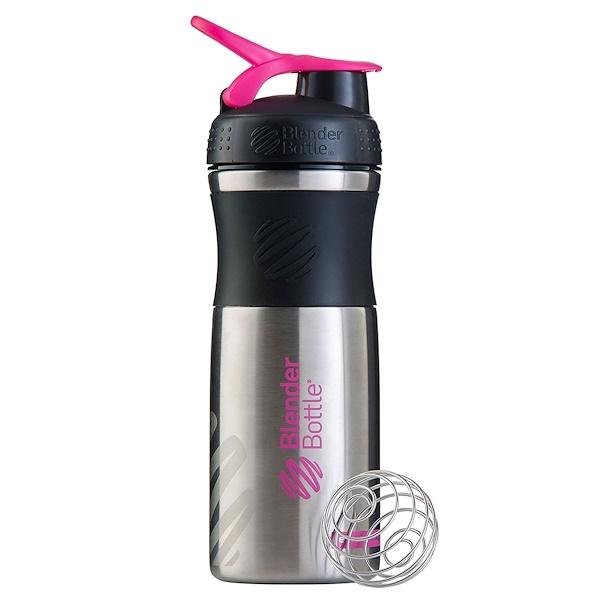 Blender Bottle, BlenderBottle, SportMixer, Stainless Steel, Black/Pink, 28 oz (Discontinued Item)