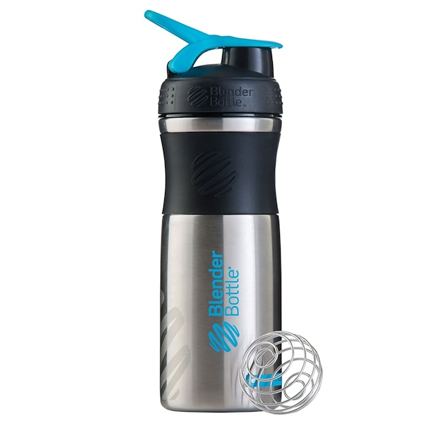Blender Bottle, BlenderBottle, SportMixer, Stainless Steel, Black/Aqua, 28 oz (Discontinued Item)