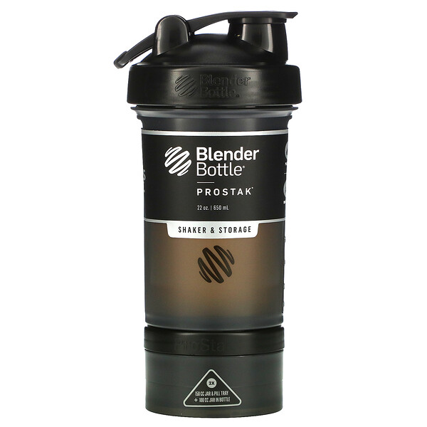 Blender Bottle, ProStak, Black, 22 oz (650 ml)