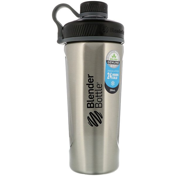 Blender Bottle Radian, Insulated Stainless Steel, Natural/Black, 26 oz
