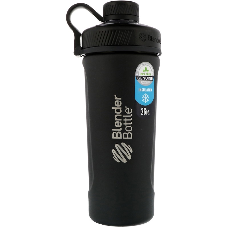Blender Bottle, 弧度搖搖瓶,絕緣不銹鋼,啞光黑色,26盎司