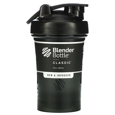 Blender Bottle Classic With Loop, классический шейкер с петелькой, черный 600мл (20унций)