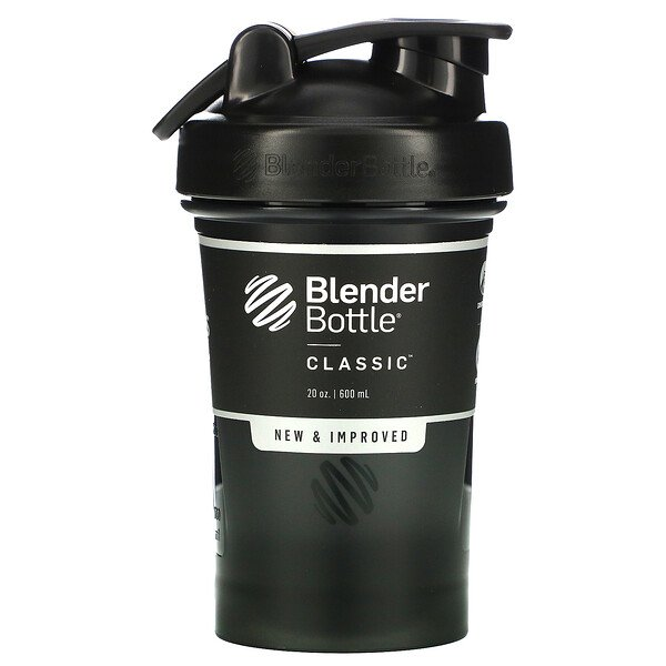 Blender Bottle, Classic con asa, Color negro, 600 ml (20 oz)