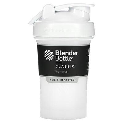 Blender Bottle Classic With Loop, классический шейкер с петелькой, белый 600мл (20унций)