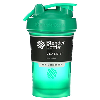 Blender Bottle Classic With Loop, классический шейкер с петелькой, изумрудный, 600мл (20унций)