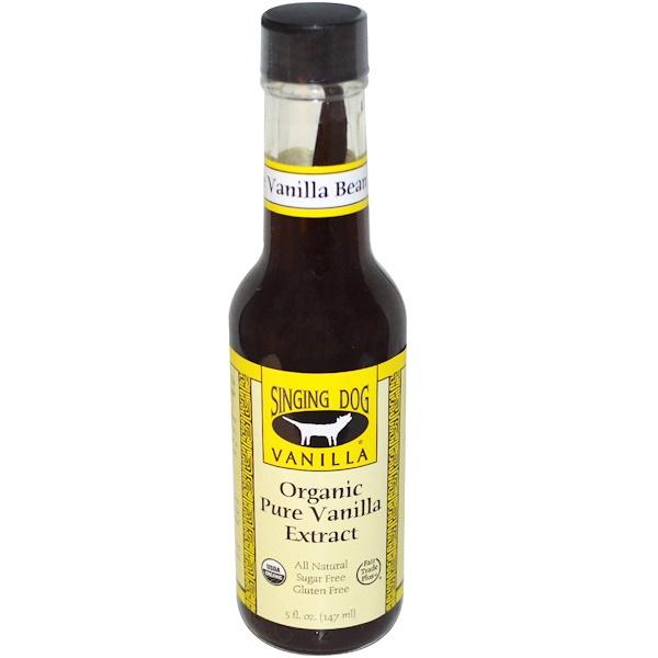 Singing Dog Vanilla, Organic Pure Vanilla Extract, Farm Grown , 5 fl oz (147 ml) (Discontinued Item)