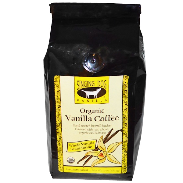 Singing Dog Vanilla, Organic Whole Bean Vanilla Coffee, Medium Roast, 10 oz (283.5 g) (Discontinued Item)