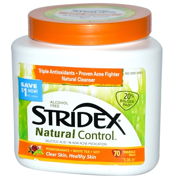Stridex, Natural Control, Alcohol Free, 70 Triangle Pads (Discontinued Item)