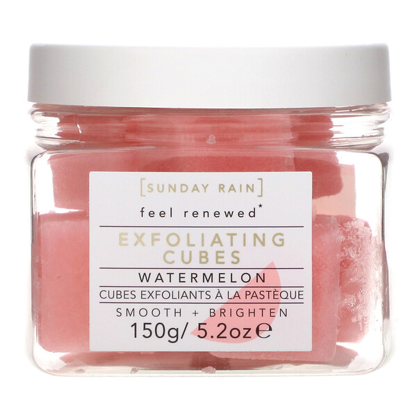 Sunday Rain, Feel Renewed, Exfoliating Cubes, Watermelon, 5.2 oz (150 g)