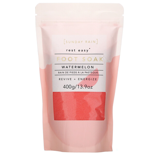 Sunday Rain, Rest Easy, Foot Soak, Watermelon, 13.9 oz (400 g)