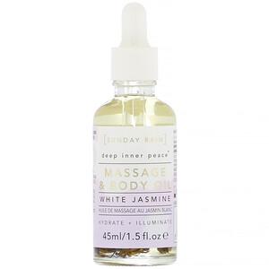 Sunday Rain, Deep Inner Peace, Massage & Body Oil, White Jasmine, 1.5 fl oz (45 ml) отзывы