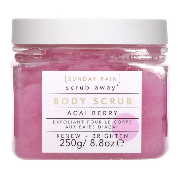 Sunday Rain, Scrub Away, Body Scrub, Acai Berry, 8.8 oz (250 g)