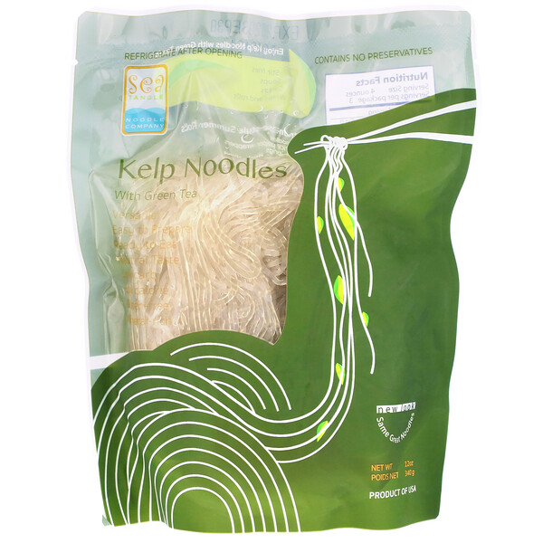 Sea Tangle Noodle Company, Kelp Noodles, with Green Tea, 12 oz (340 g)