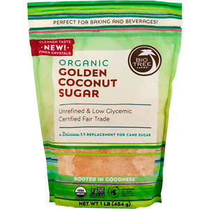 Биг Три Фармс, Organic Golden Coconut Sugar, 1 lb (454 g) отзывы