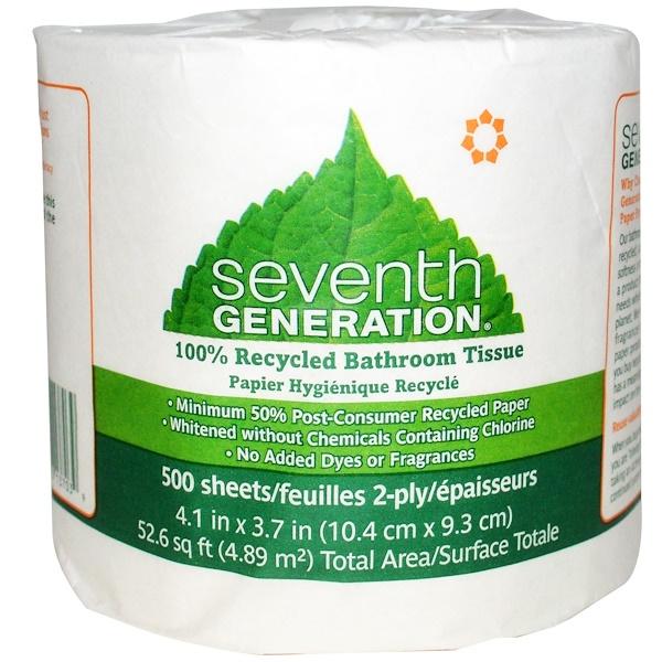 Seventh Generation, Туалетная бумага 100% вторичной переработки, 500 листов, 2-слойные, 1 рулон (Discontinued Item)
