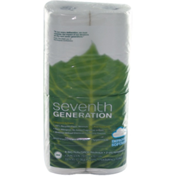 Seventh Generation, 2-Ply Bathroom Tissue, 352 Sheets, 8 Rolls, 4.25 in x 4 in (Discontinued Item)