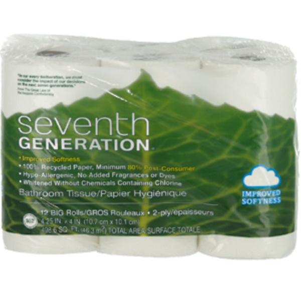 Seventh Generation, 2-Ply Bathroom Tissue, 12 Big Rolls, 4.25 in x 4 in (Discontinued Item)
