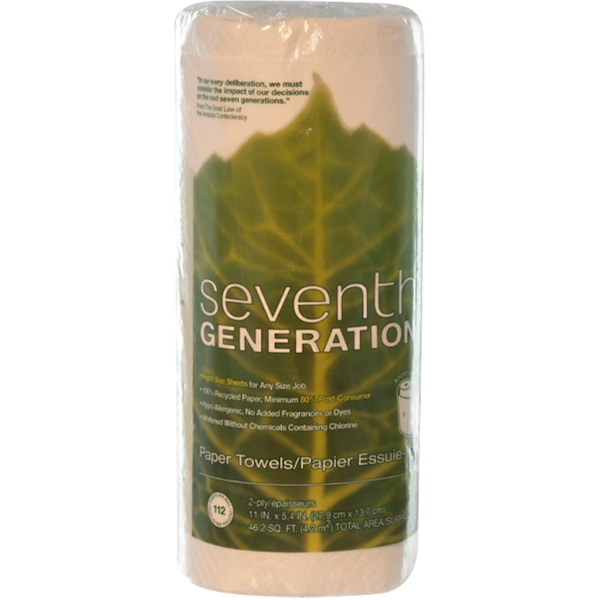 Seventh Generation, 2-Ply Paper Towels, 11 in x 5.4 in, 112 Sheets (Discontinued Item)