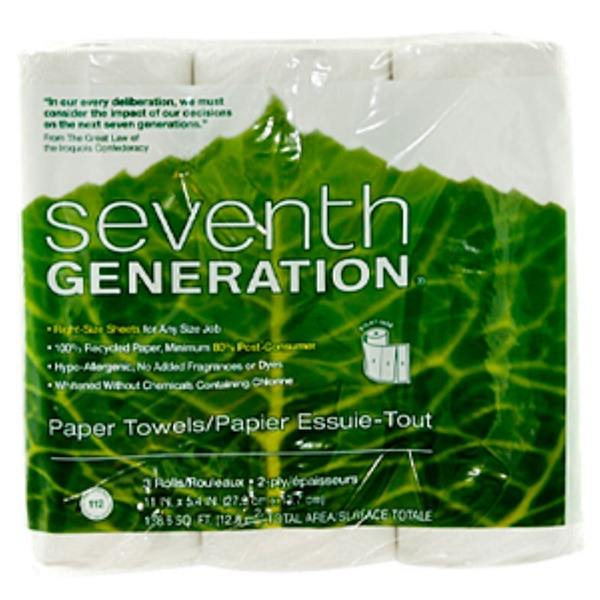 Seventh Generation, 2-Ply Paper Towels, 3 Rolls, 11 in x 5.4 in (Discontinued Item)