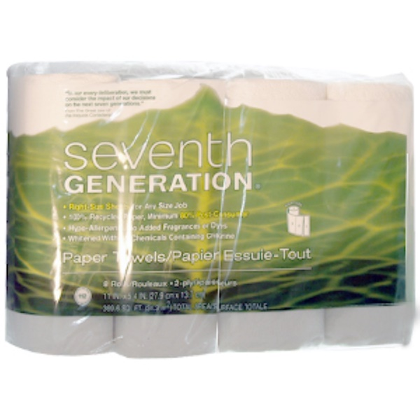Seventh Generation, 2 Ply Paper Towels, 8 Rolls, 11 in x 5.4 in (27.9 cm x 13.7 cm) (Discontinued Item)