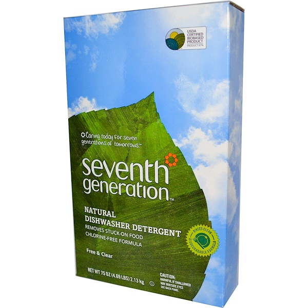 Seventh Generation, Natural Dishwasher Detergent, Free & Clear, 75 oz (2.13 kg) (Discontinued Item)