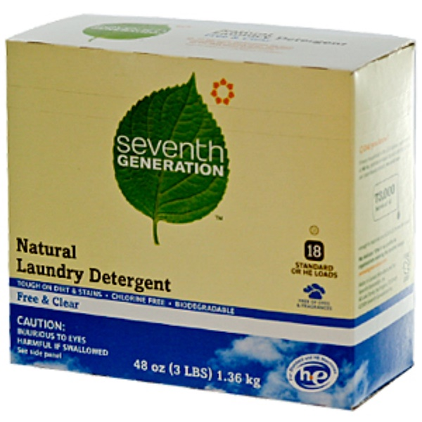 Seventh Generation, Natural Laundry Detergent, Free & Clear, 48 oz (3 lbs) (Discontinued Item)