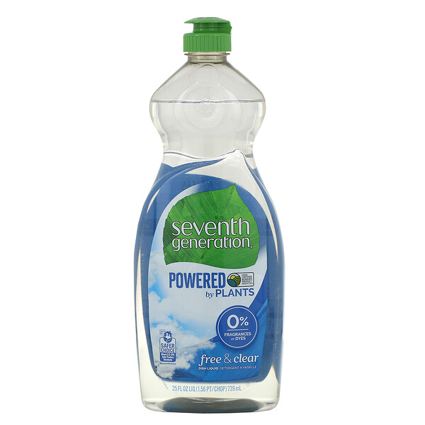 Seventh Generation, Dish Liquid, Free & Clear, 25 fl oz (739 ml) (Discontinued Item)
