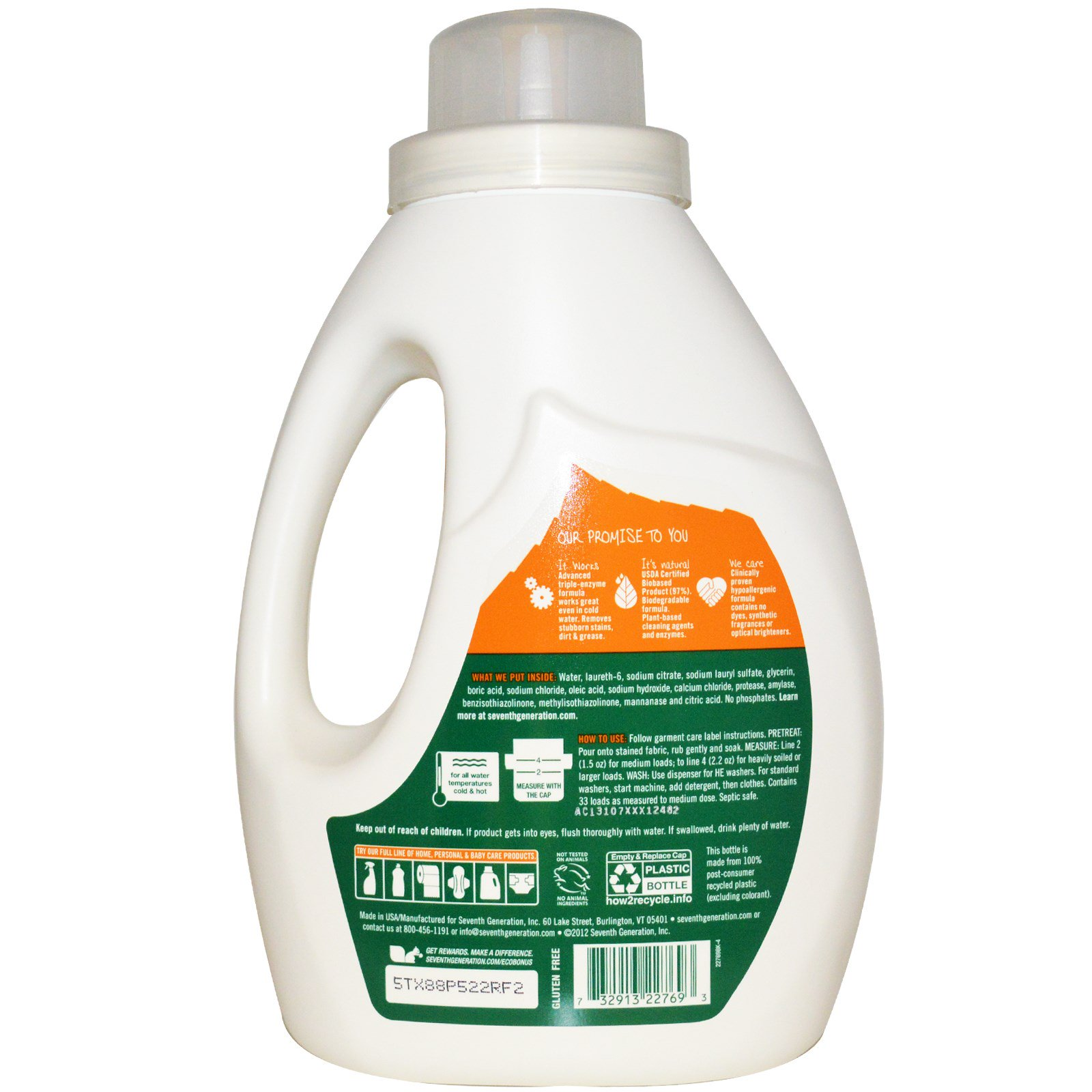 Seventh Generation, Natural Laundry Detergent, Free & Clear, 50 fl oz (1 47  L) (Discontinued Item)