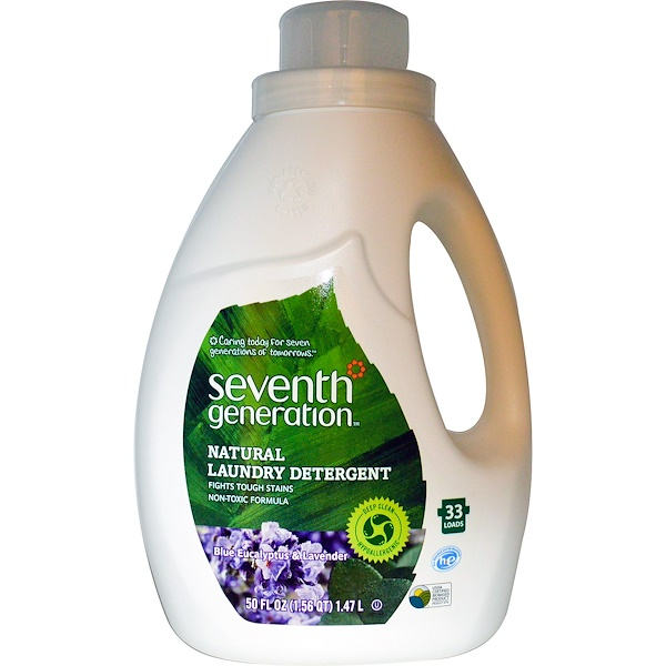 Seventh Generation, Natural Laundry Detergent, Blue Eucalyptus & Lavender, 50 fl oz (1.47 L) (Discontinued Item)
