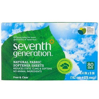 Seventh Generation, Natural Fabric Softener Sheets, Free & Clear, 80 Sheets