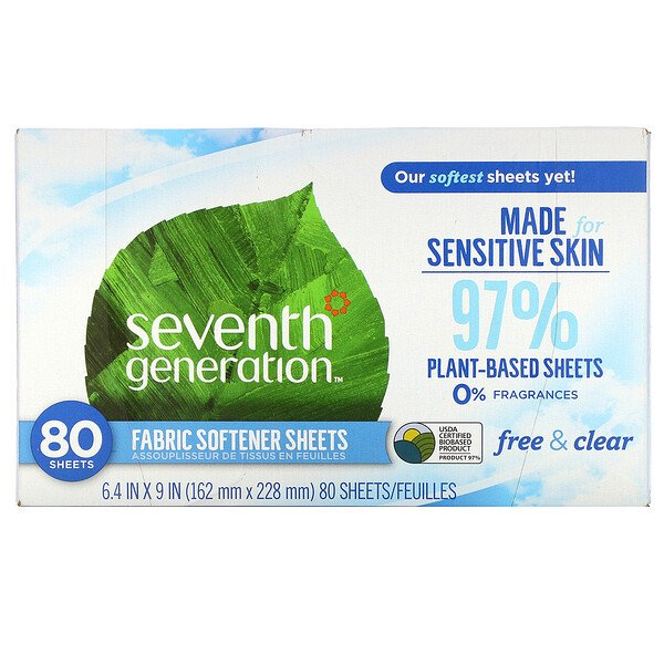 Seventh Generation, Fabric Softener Sheets, Free & Clear, 80 Sheets