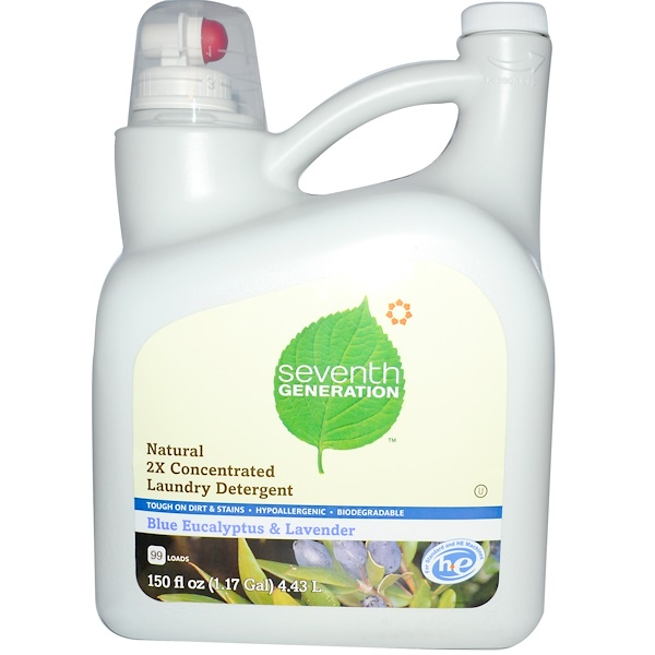 Seventh Generation, Natural 2X Concentrated Laundry Detergent, Blue Eucalyptus & Lavender, 150 fl oz (4.43 l) (Discontinued Item)