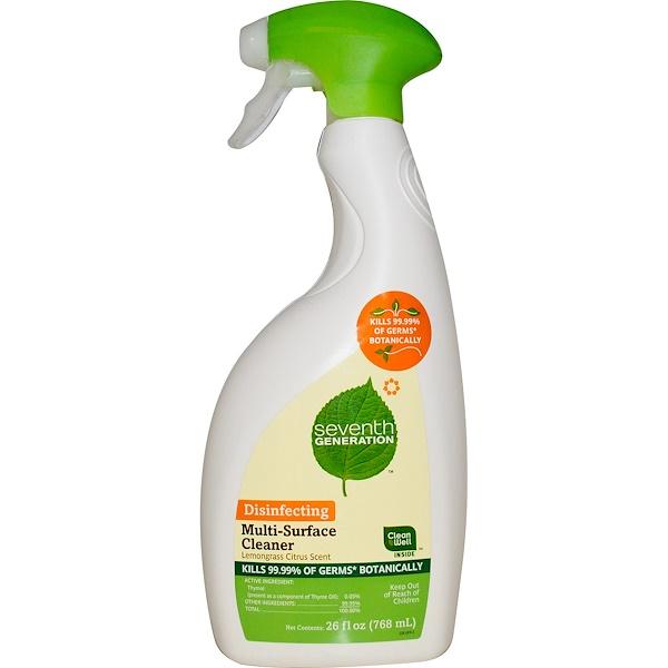 Seventh Generation, Очищающее средство для различных поверхностей, с цитрусовым запахом лимонной травы, 26 жидких унций (768 мл) (Discontinued Item)