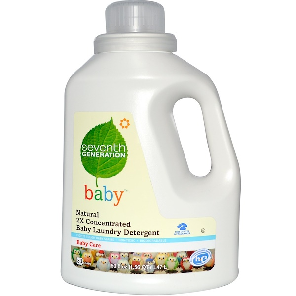 Seventh Generation, Natural 2x Concentrated Baby Laundry Detergent, 50 fl oz (1.47 l)  (Discontinued Item)