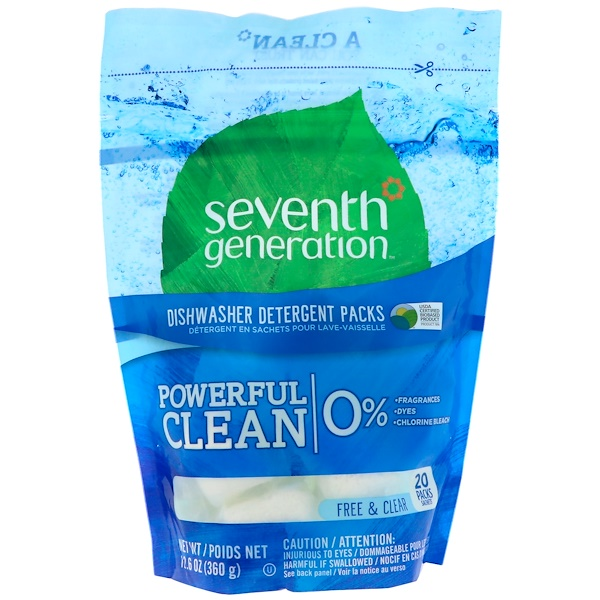 Seventh Generation, Natural, Dishwasher Detergent Packs, Free & Clear, 20 Packs (Discontinued Item)