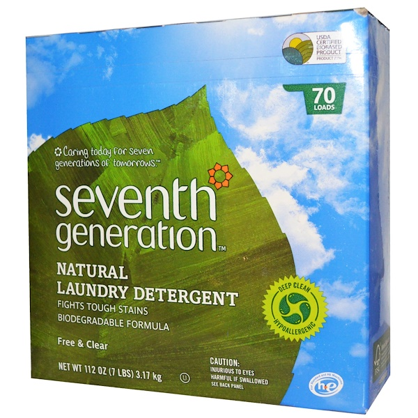 Seventh Generation, Natural Laundry Detergent, Free & Clear, Powder, 112 oz (3.17 kg) (Discontinued Item)