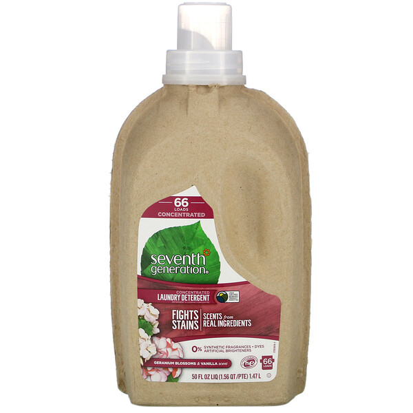 Seventh Generation, Concentrated Laundry Detergent, Geranium Blossom & Vanilla, 50 fl oz (1.47 l)