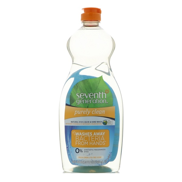Seventh Generation, Natural Dish Liquid & Hand Wash, Purely Clean, Fresh Lemon & Tea Tree, 22 fl oz (650 ml) (Discontinued Item)