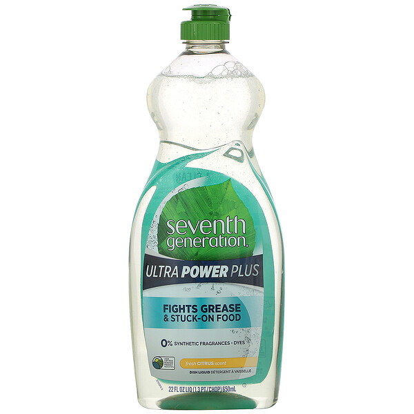 Seventh Generation, Dish Liquid Detergent, Ultra Power Plus, Fresh Citrus, 22 fl oz (650 ml) (Discontinued Item)