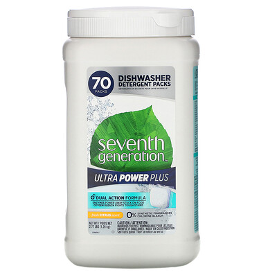 Seventh Generation Ultra Power Plus Dishwasher Detergent Packs, Fresh Citrus Scent, 70 Packs, 2.77 lbs (1.26 kg)