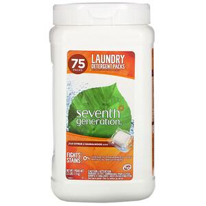 Seventh Generation, Laundry Detergent Packs, Citrus & Sandalwood, 75 Packs, 3.3 lbs (1.5 kg)